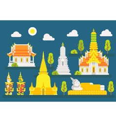 Thailand temple infographic elements set vector image