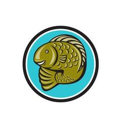 Trout Fish Jumping Circle Cartoon vector