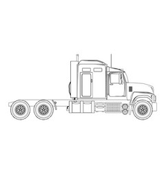 truck tractor unit outline vector image