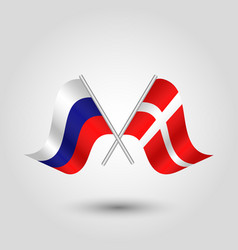 Two crossed russian and danish flags vector