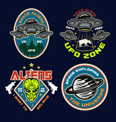 Ufo and aliens set four colored emblems vector