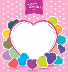 Valentines Day and colorful heart on pink vector image
