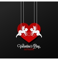Valentines Day Couple On Heart Background vector image