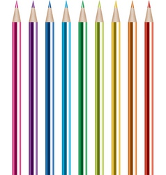 vector set of shiny colored pencils vector image