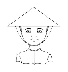 vietnamesehuman race single icon in outline style vector image
