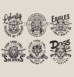 Vintage military monochrome emblems vector