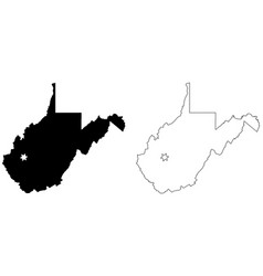 west virginia wv state map usa with capital city vector image