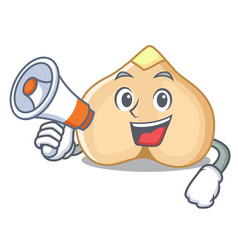 With megaphone chickpeas character cartoon style vector