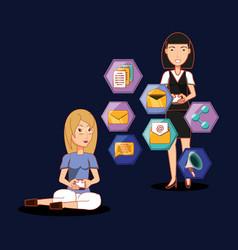 women together using mobile social media vector image