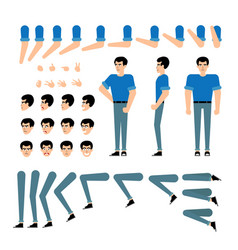 young man creation kit - guy in t-shirt and jeans vector image