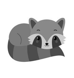 Adorable raccoon in flat style vector