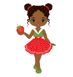 cute african american girl with strawberry vector image
