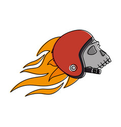 extreme skull with helmet and flames vector image