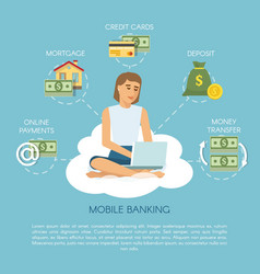 Flat mobile banking concept vector