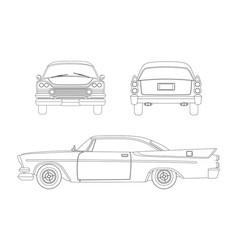 outline drawing of retro car vintage cabriolet vector image vector image