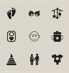 set of 9 editable icons includes symbols such a vector image vector image
