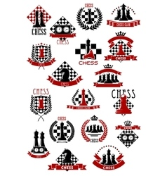 Chess game icons with chessboards and pieces vector image vector image