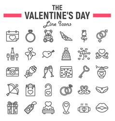 happy valentines day line icon set vector image vector image