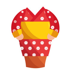 japanese kimono dress cartoon vector image