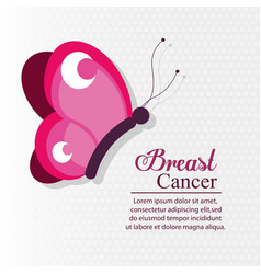 pink butterfly breast cancer vector image