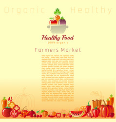 red autumn farmers market fruit and vegetable vector image