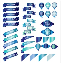 Sale blue ribbons isolated on white background vector image vector image