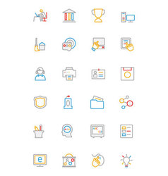 School and Education Colored line Icons 4 vector image