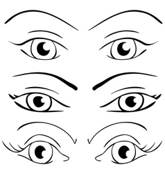 Set female eyes on a white vector image vector image