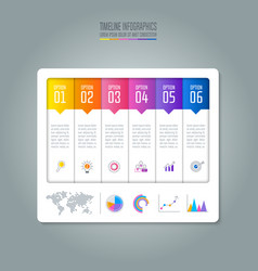 timeline infographic business concept with 6 vector image vector image