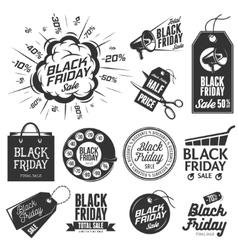 Black friday sale vintage labels set vector image