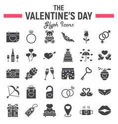 happy valentines day glyph icon set vector image