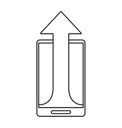 mobile phone technology upload arrow outline vector image