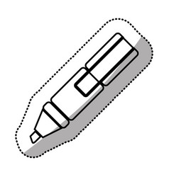 monochrome sticker silhouette with marker pen vector image