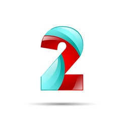 Number two 2 colorful 3d volume icon design for vector image vector image