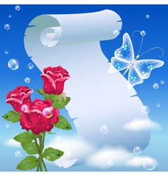 parchment and roses vector image vector image