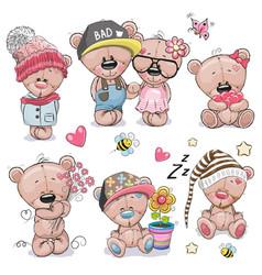 Set of cute cartoon teddy bear vector