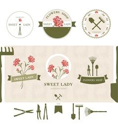 Set of flowers shop labels and design elements vector image