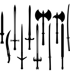 set of swords and axes silhouettes vector image vector image