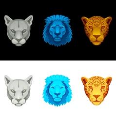 big cat set-lion puma jaguar vector image