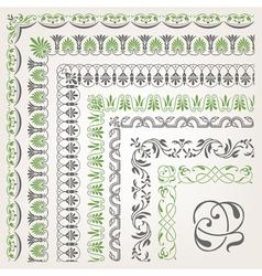 Decorative seamless ornamental border with corner vector image
