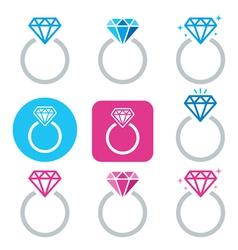 Diamond engagement ring icon - Valentines vector image