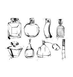 Perfume bottles set Fashion sketch Hand drawn vector image vector image