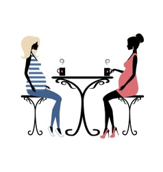 Silhouette of two fashionable pregnant women vector image vector image