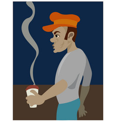 a black guy with vintage cap having coffee vector image