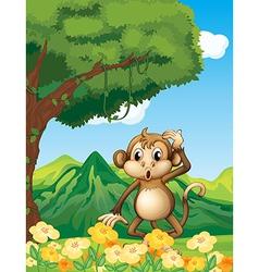 A monkey near the mountain vector image