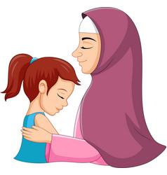 a muslim mother hugging her daught vector image