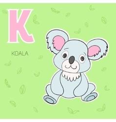 Alphabet letter k koala children vector