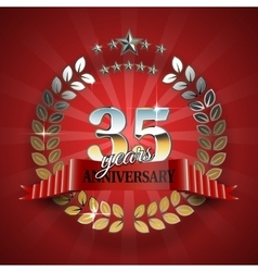 Anniversary 35th ring with red ribbon vector image