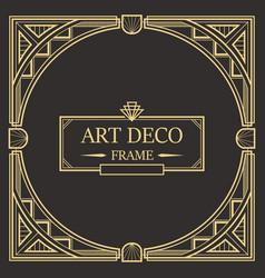 art deco border frame 01 vector image
