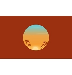 At sunset palm trees silhouettes scenery vector